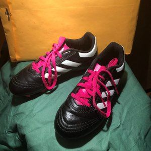 Adidas black/white/pink Goletto soccer shoes kid,
